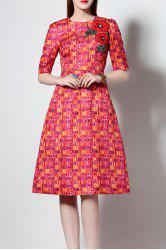 Embroidered Printed Flare Dress -