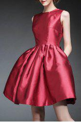 Waisted Corset Solid Color Dress - CLARET