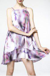 Spaghetti Strap Printed Flounce Dress -