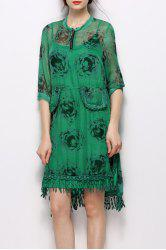 Stand Collar Printed Fringed Dress -