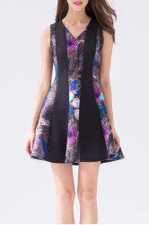V Neck Daisy Print A Line Dress -