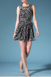 Round Neck Sleeveless Letter Print Belted Dress -