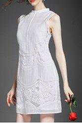 Stand Collar Embroidered See Through Sleeveless Dress -