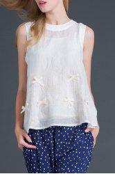 Round Collar Sleeveless Bowknot Embroidery T-Shirt -