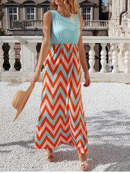 Sleeveless Scoop Neck Chevron Maxi Sundress