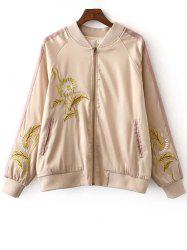 Stylish Stand Neck Long Sleeves Floral Embroidery Women's Jacket - COLORMIX L
