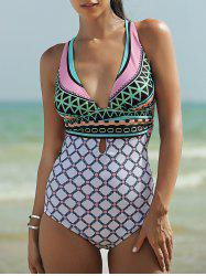 Plunging Neck Backless One-Piece Garphic Swimsuit - WHITE M