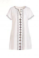 Stylish White Short Sleeve V Neck Embroidered Women's Dress