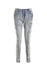 Lace Insert Skinny Cigarette Jeans - LIGHT BLUE
