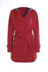 Stylish Hooded Double-Breasted Long Sleeve Worsted Coat For Women - RED 3XL