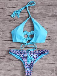 Trendy Macrame Back Women's Bikini Set