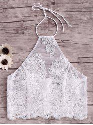 Halter Embroidery Lace Crop Tank Top