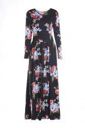 Fashionable Jewel Neck Colorful Floral Print Long Sleeve Dress For Women