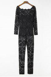 Sexy Off-The-Shoulder Lace Hollow Out Long Sleeve Jumpsuit For Women -