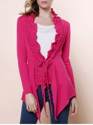 Stylish Plunging Neck Solid Color Flouncing Long Sleeve Cardigan For Women