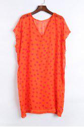 Stylish V Neck Half Sleeve Polka Dot Print Women's Cover Up -