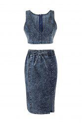 Denim Crop Top and Drawstring Skirt