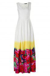 Slimming V-Neck Sleeveless High-Waisted Floral Print Women's Maxi Dress -
