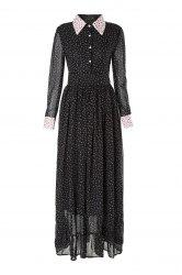 Vintage Turn-Down Collar Long Sleeve Tiny Floral Print Women's Maxi Dress