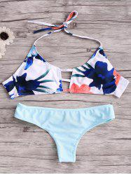 Cut Out Halter Top Bikini Set