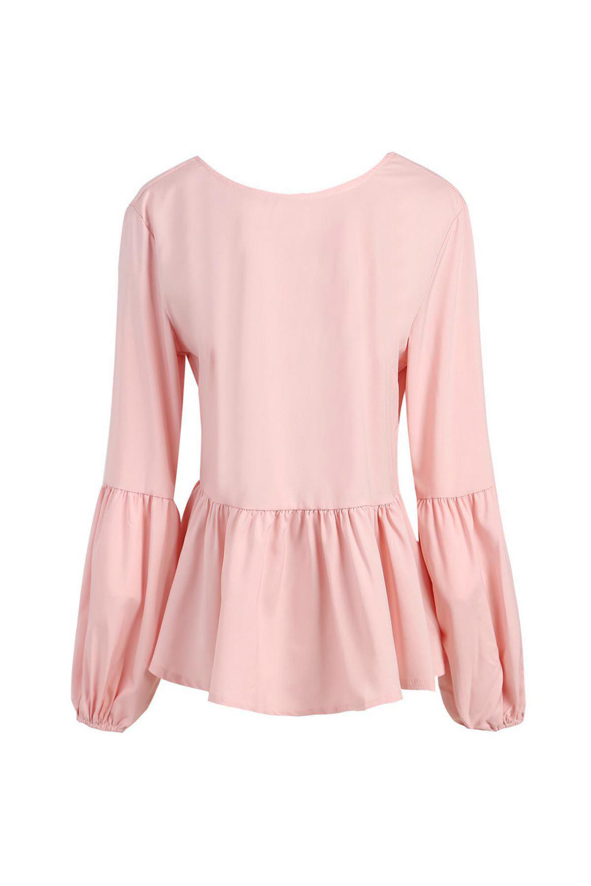 878f350086c954 Cheap Stylish Round Neck Long Sleeve Bowknot Design Flounced Blouse For  Women