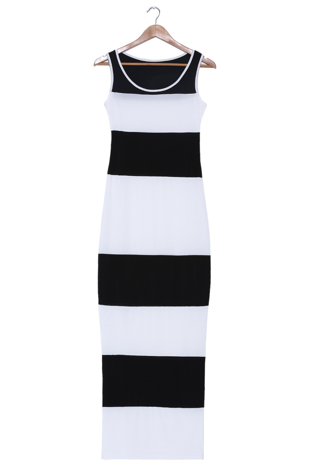 Latest Stylish Scoop Neck Sleeveless Bodycon Striped Dress For Women