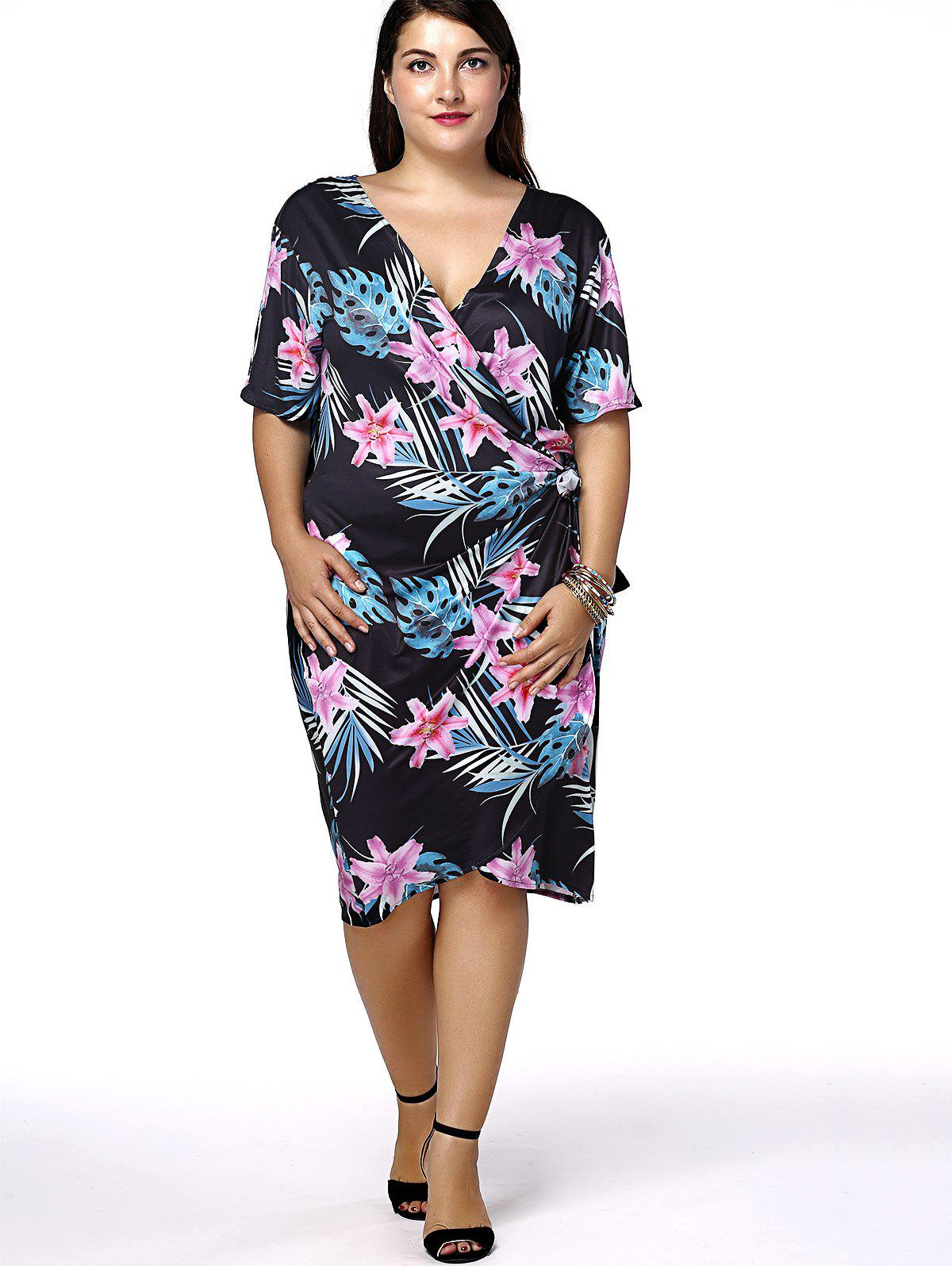 Plus Size Hawaiian Floral Print Dress DRESSFO