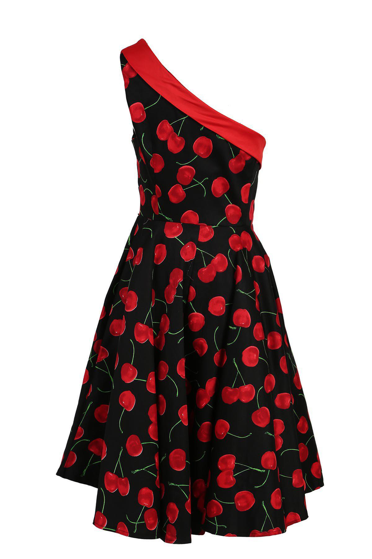 New Vintage One-Shoulder Sleeveless Cherry Printed Flare Dress For Women