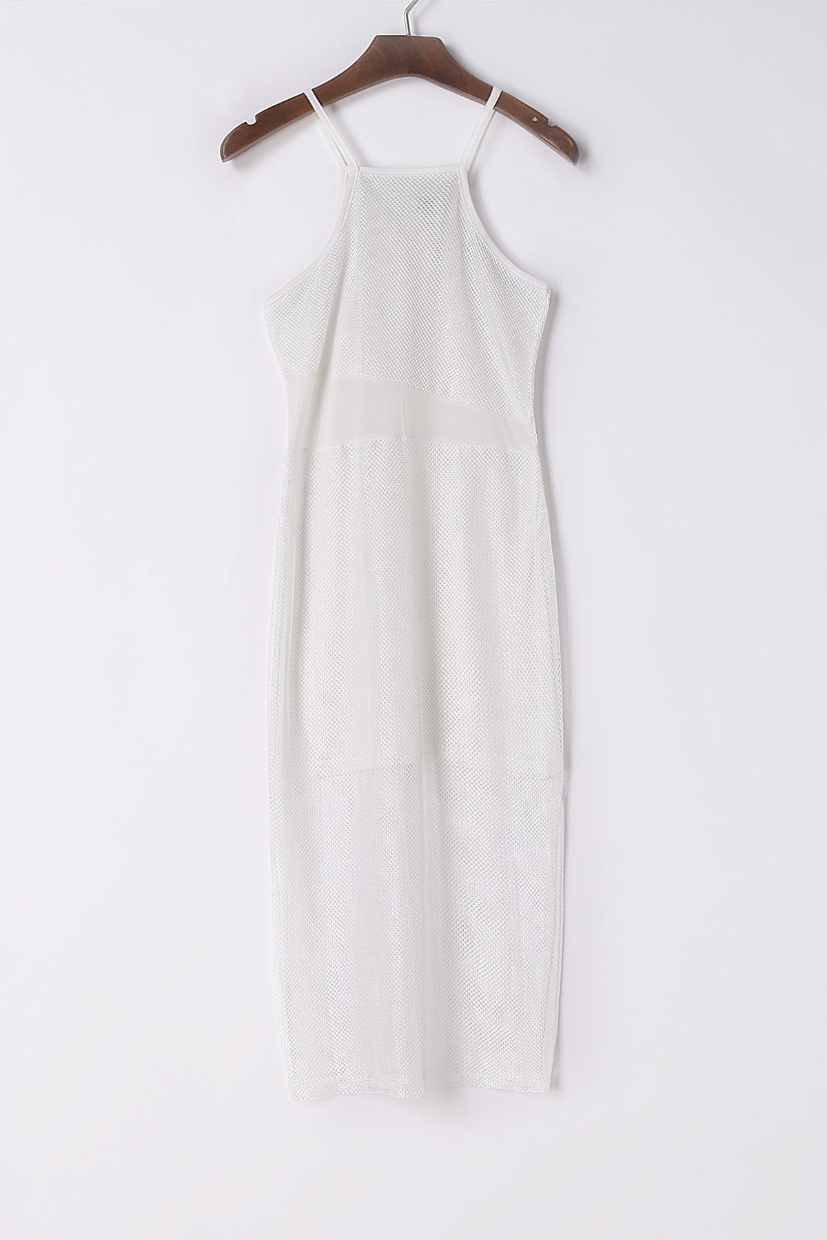 Online Sexy Spaghetti Strap Sleeveless White See-Through Beach Dress For Women