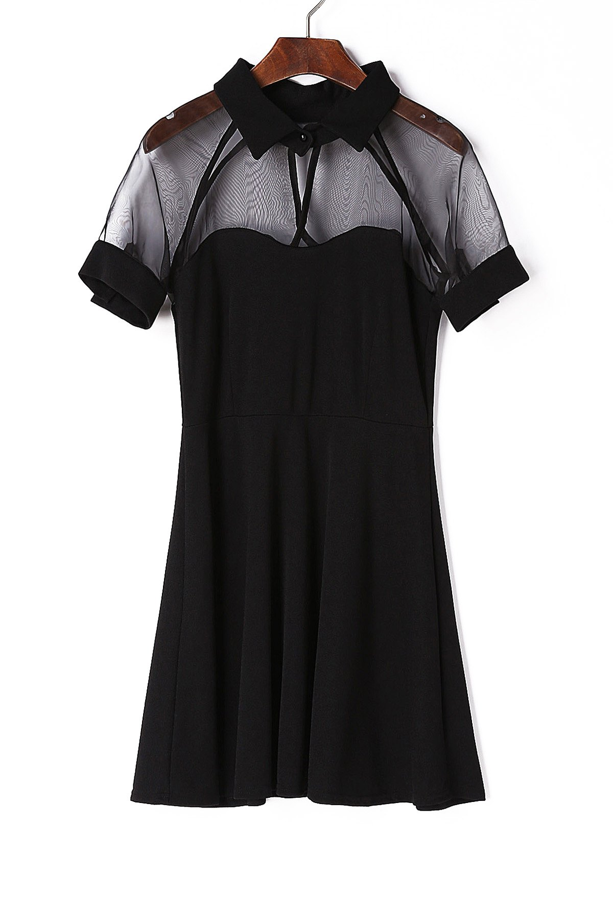Best Stylish Black Flat Collar Short Sleeve See-Through Dress For Women