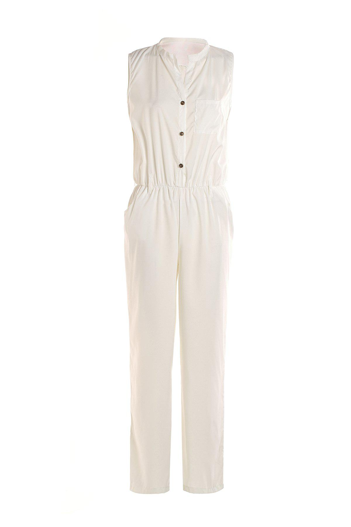 Fashion Stylish Stand-Up Collar Sleeveless Pure Color Women's Jumpsuit