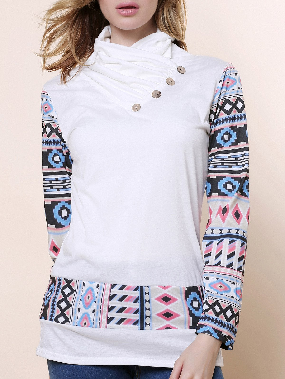 Latest Cowl Neck Long Sleeve Printed Button Embellished Sweatshirt