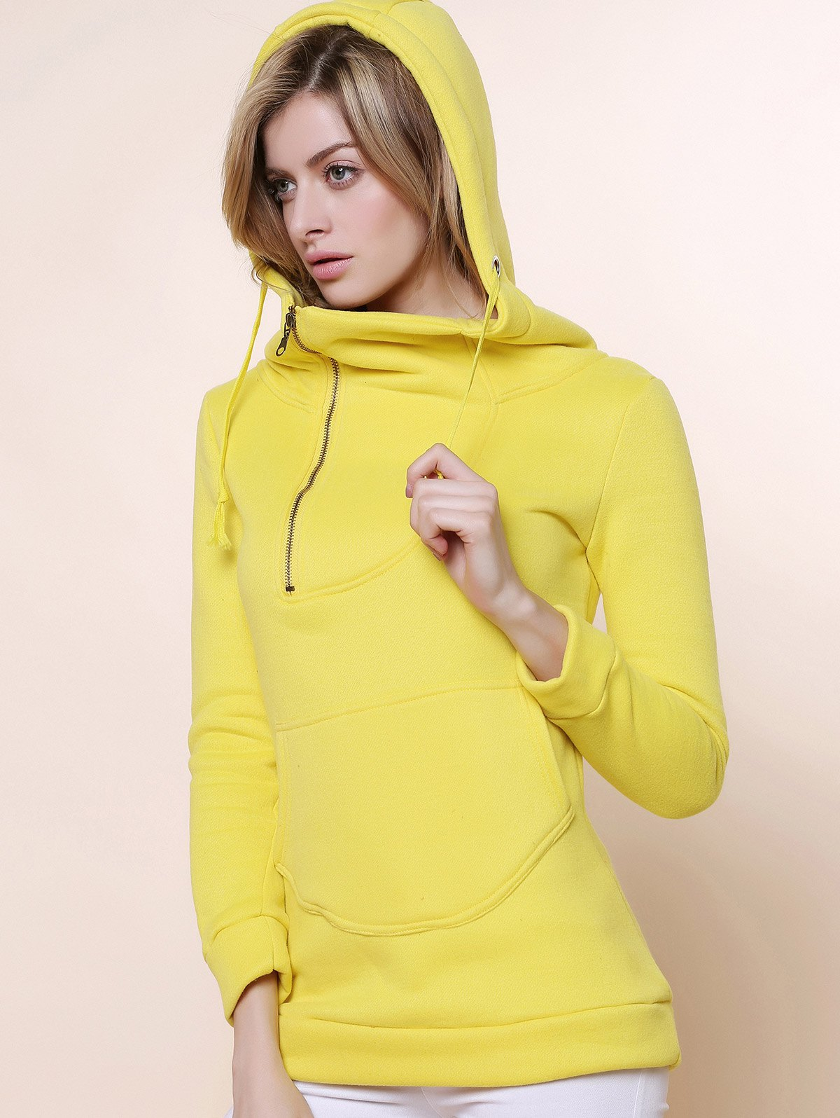 Yellow Stylish Hooded Long Sleeve Zippered Solid Color