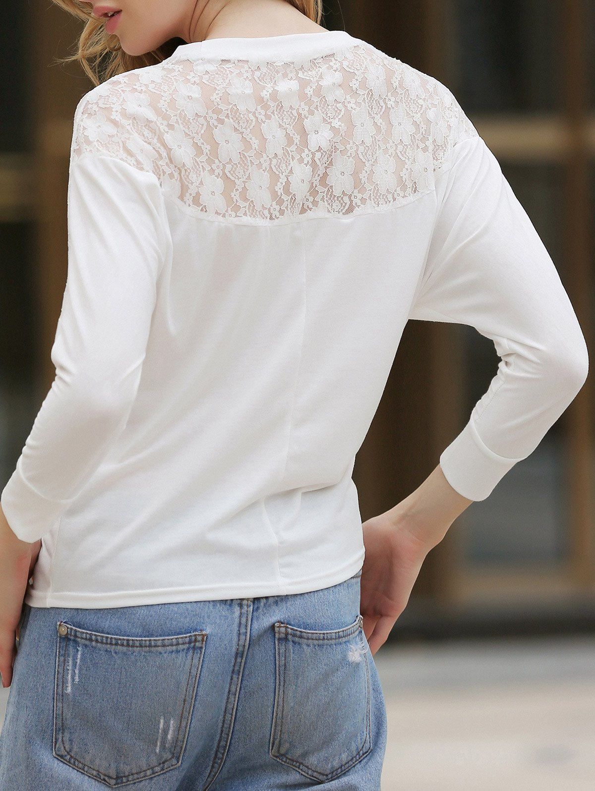 Latest Dolman Long Sleeve Lace Loose Cotton Blouse