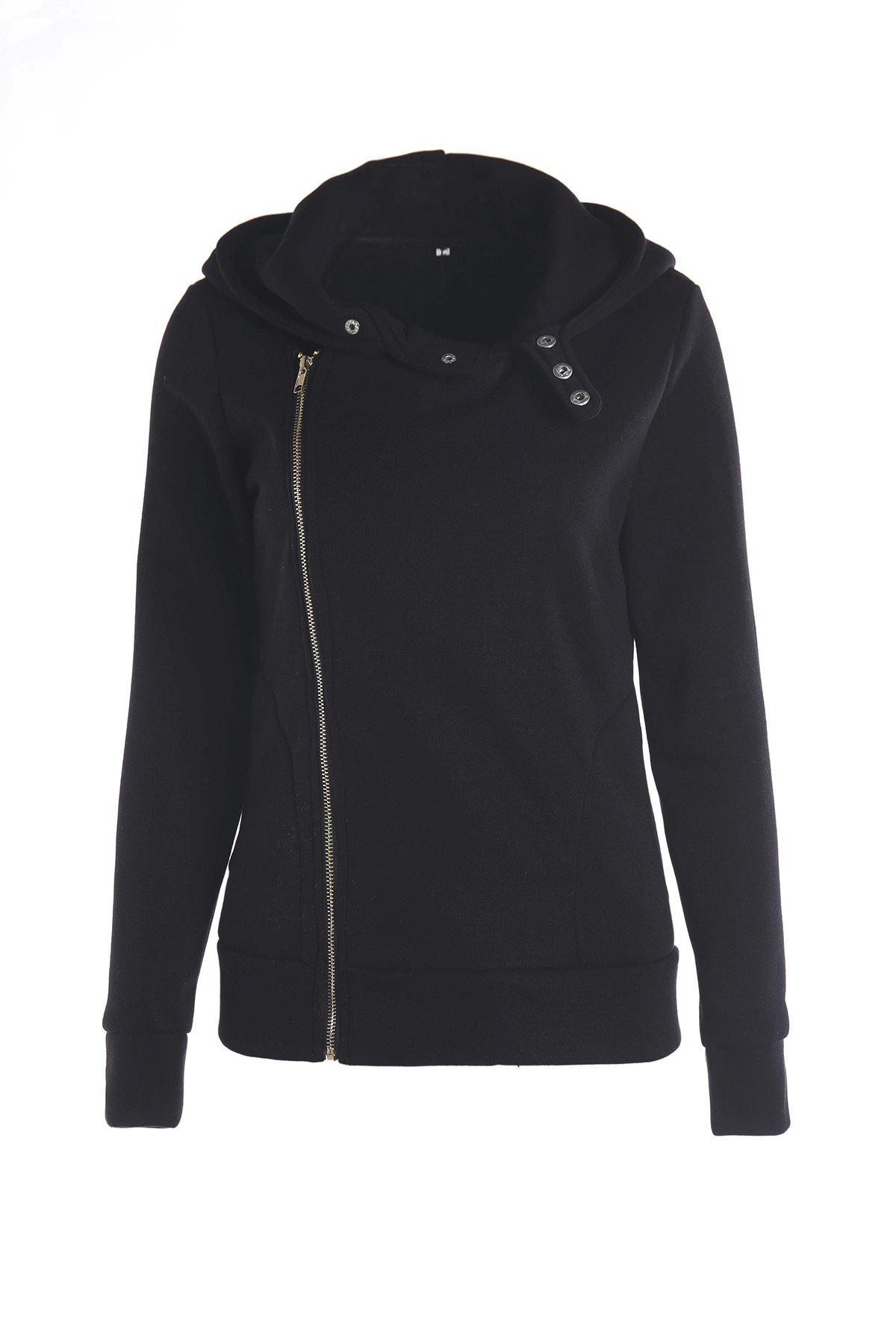 Stylish Solid Color Long Sleeves Hoodie For WomenWOMEN<br><br>Size: 2XL; Color: BLACK; Material: Polyester; Clothing Length: Regular; Sleeve Length: Full; Style: Fashion; Pattern Style: Solid; Weight: 0.570kg; Package Contents: 1 x Hoodie;