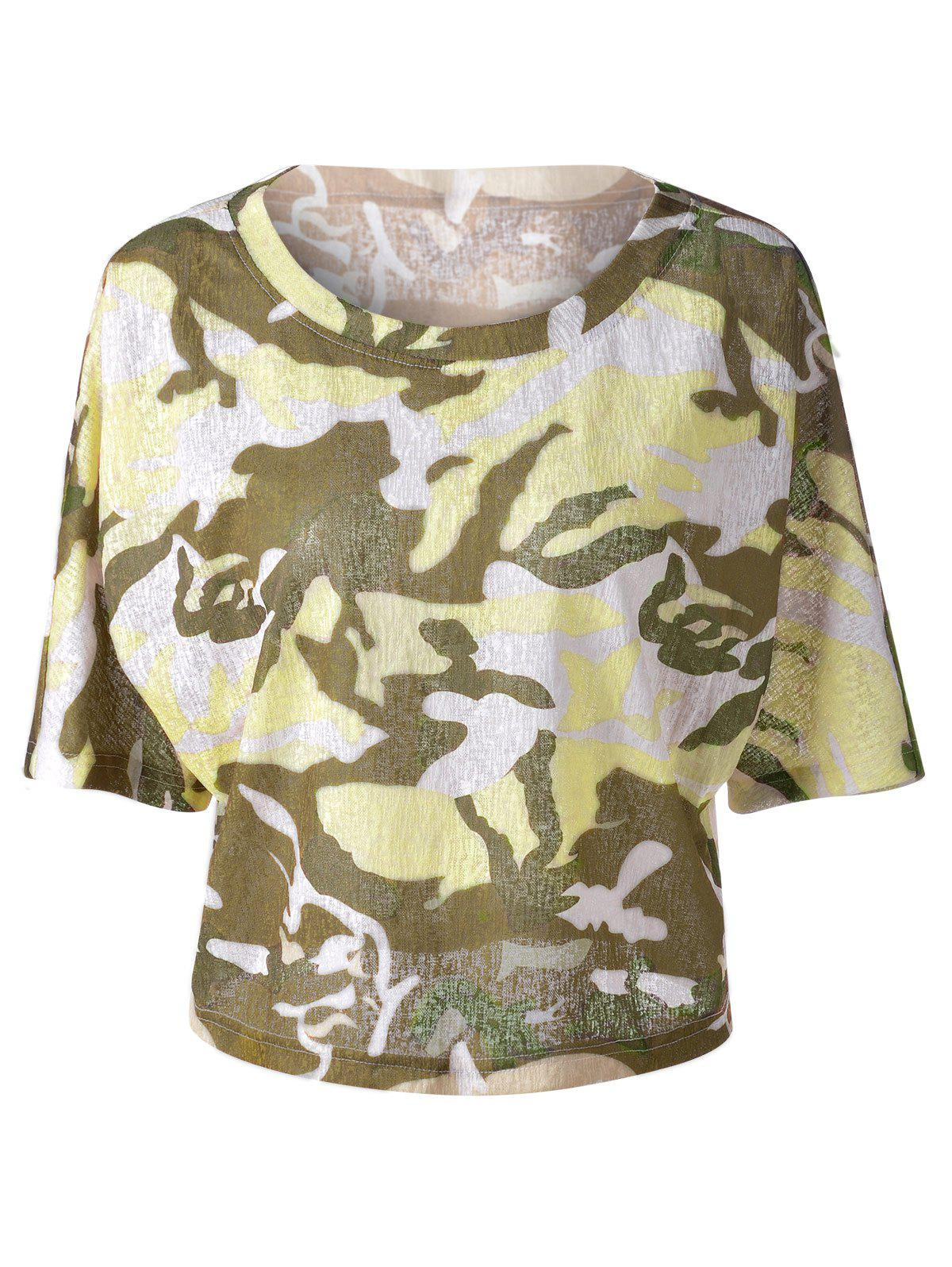 Shops Fashionable  Round Collar 3/4 Sleeve Camouflage T-shirt