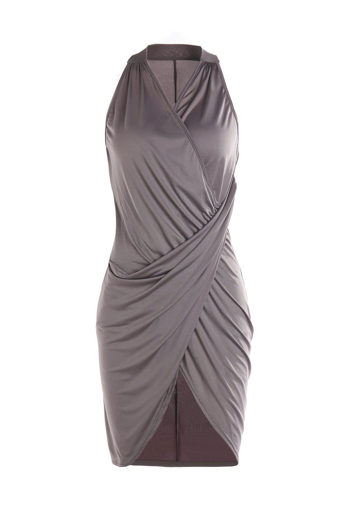 Rosegal / V-Neck Sleeveless Slit Midi Work Jersey Dress