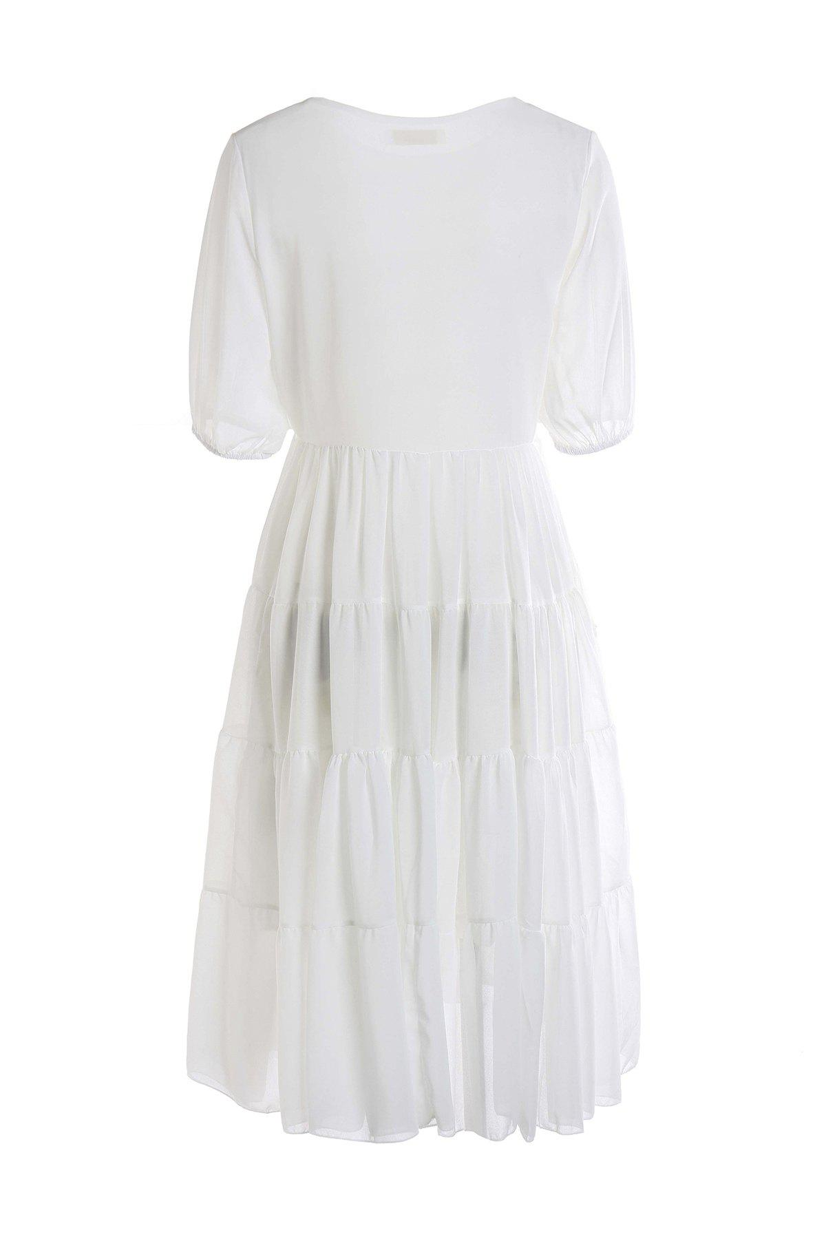 Chic Stylish Scoop Neck Short Sleeve White Women's Maxi Dress