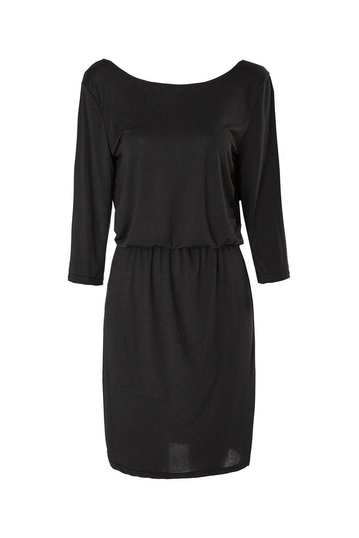 Shop Sexy Solid Color Slash Collar 3/4 Sleeve Elastic Waist Dress For Women