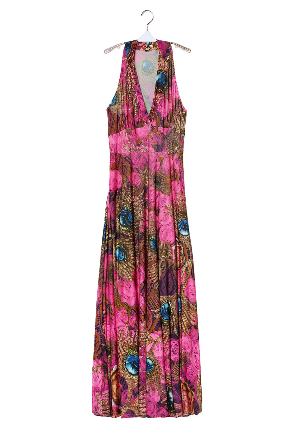 265d08cf6f Affordable Plunge Neck Sleeveless Racerback Hawaiian Printed Maxi Dress