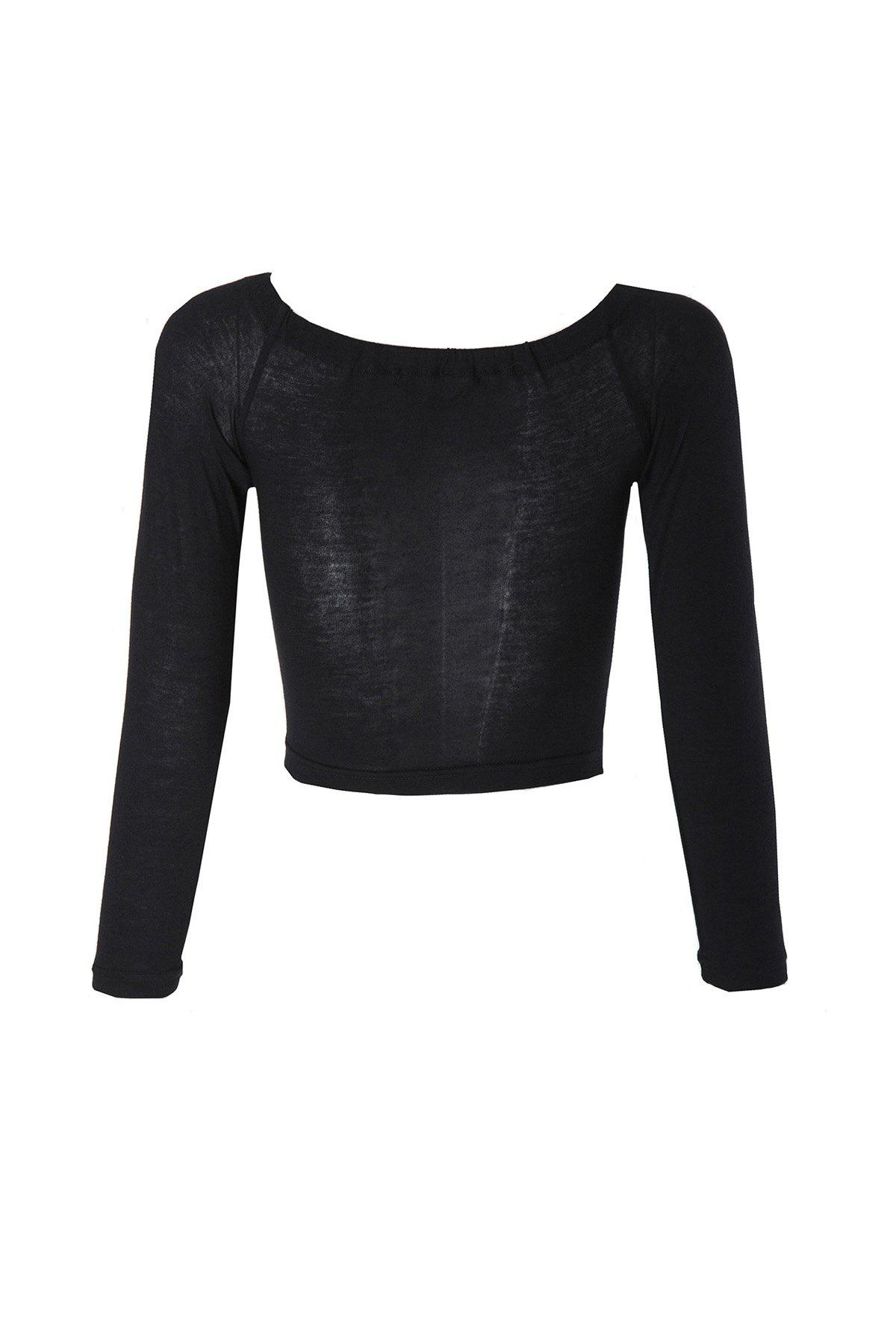 Sexy Style Slash Neck Solid Color Long Sleeve Crop Top For WomenWOMEN<br><br>Size: S; Color: BLACK; Material: Cotton Blends; Collar: Boat Neck; Sleeve Length: Full; Style: Fashion; Pattern Type: Solid; Weight: 0.130kg; Package Contents: 1 x Crop Top;