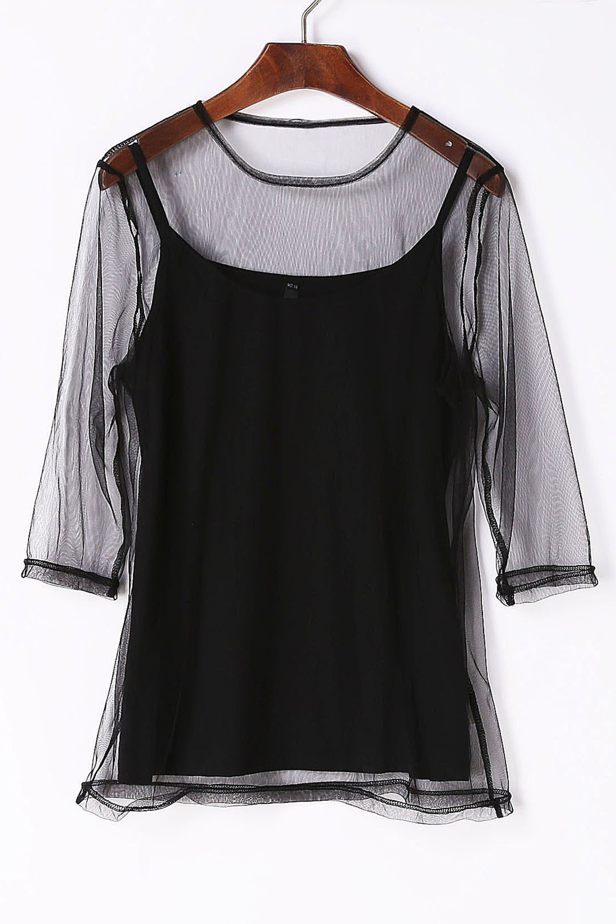 Affordable Charming Round Neck See-Through 3/4 Sleeve T-Shirt For Women