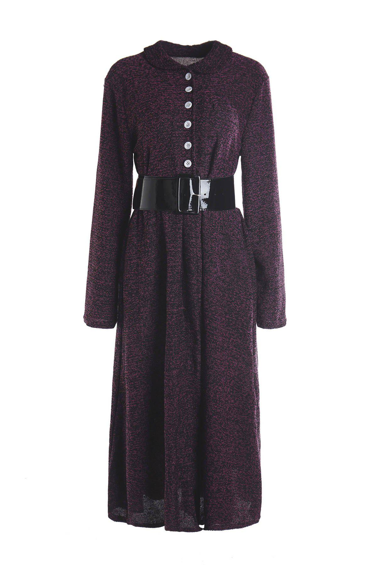 Online Vintage Turn-Down Collar Long Sleeve A-Line Dress For Women