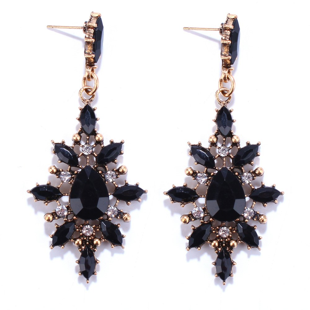 Chic Pair of Vintage Rhinestone Embellished Water Drop Earrings