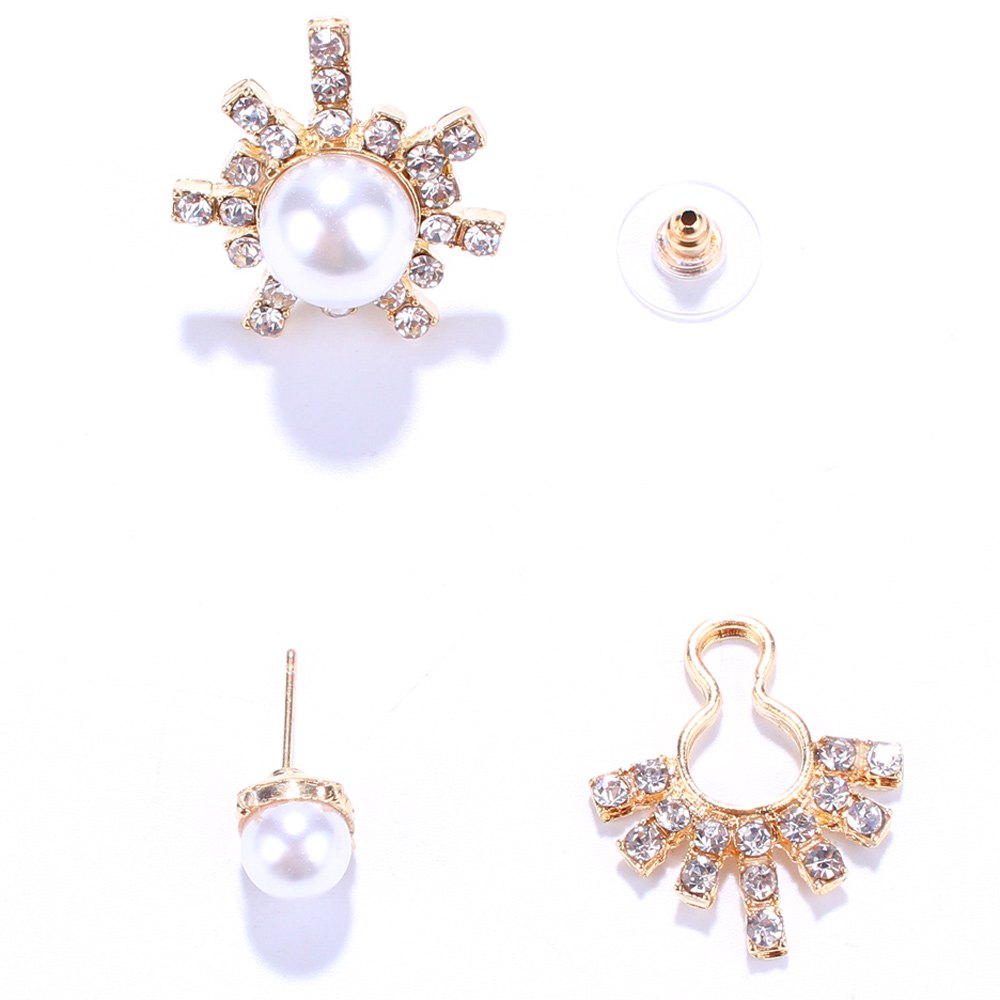 Pair of Alloy Asymmetric Faux Pearl EarringsJEWELRY<br><br>Color: GOLDEN; Earring Type: Stud Earrings; Gender: For Women; Style: Trendy; Shape/Pattern: Others; Weight: 0.030kg; Package Contents: 1 x Earrings (Pair);