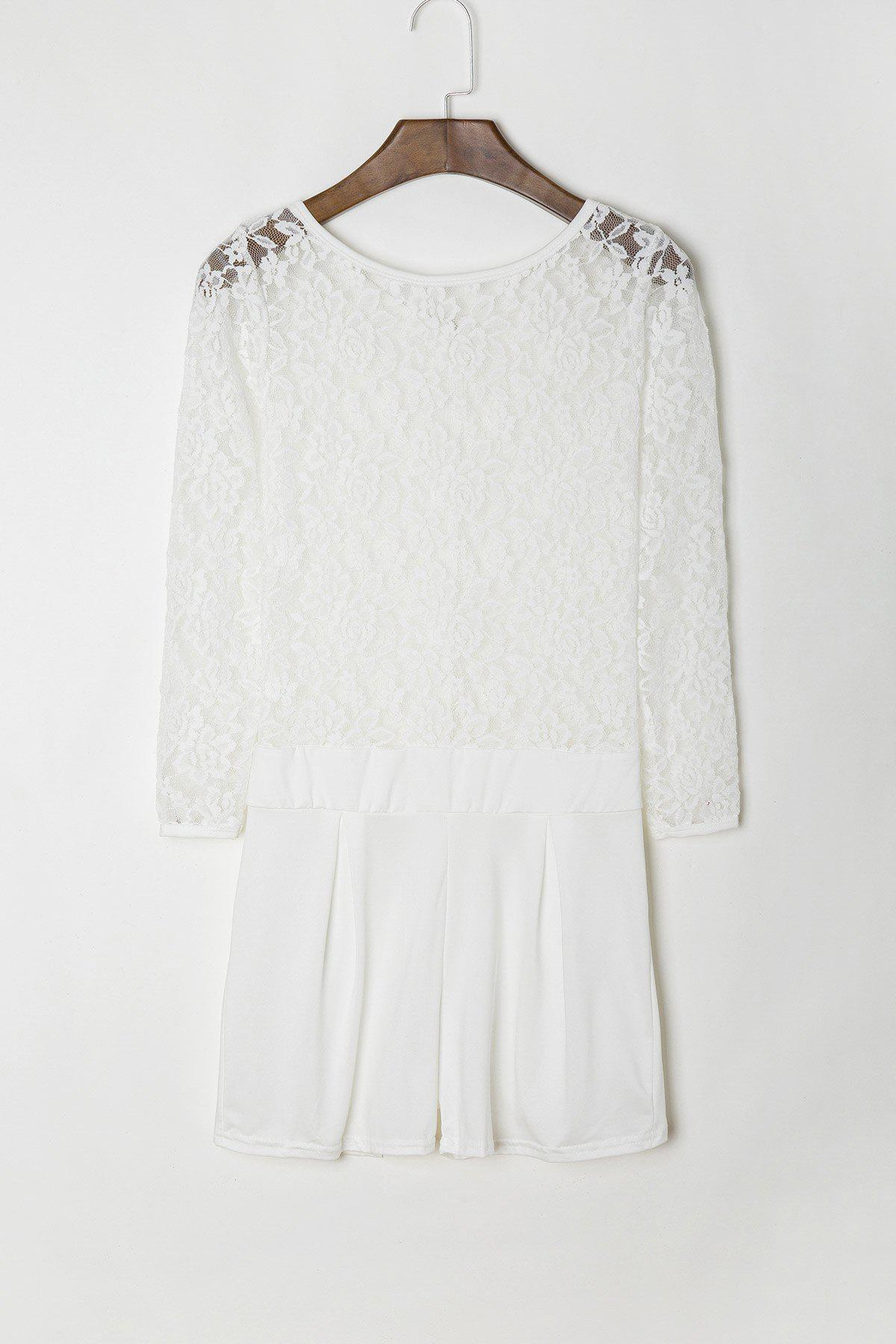 Chic Stylish Round Neck See-Through Lace Spliced Long Sleeve Romper For Women