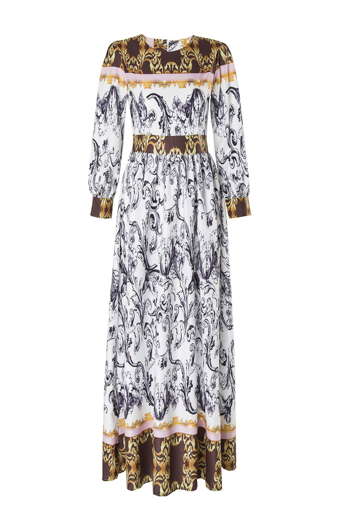 Latest Maxi Abstract Printed Long Sleeve Dress