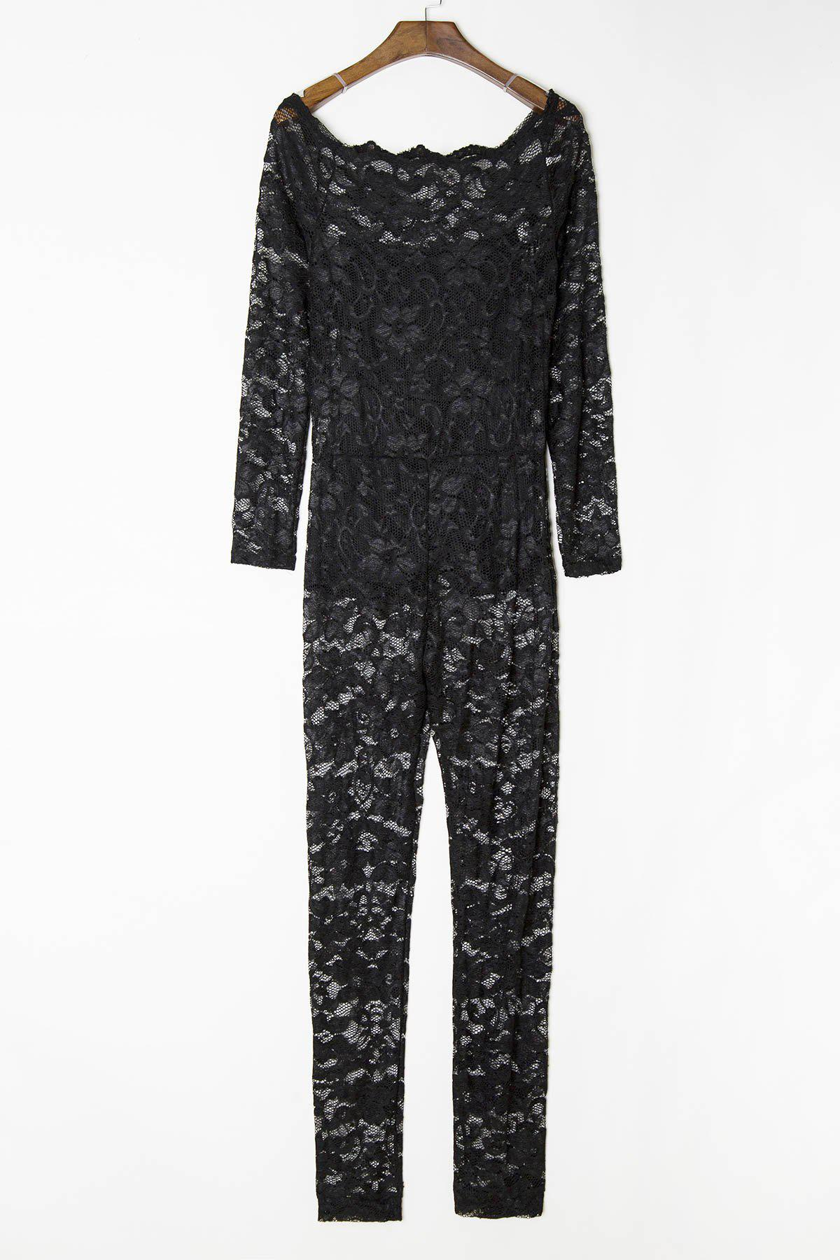 Discount Sexy Off-The-Shoulder Lace Hollow Out Long Sleeve Jumpsuit For Women