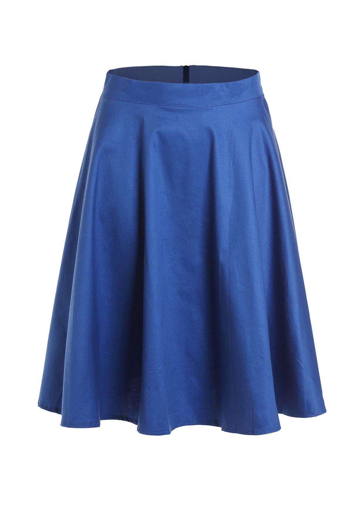 Cheap High Waist Solid Color A-Line Ball Circle Skater Skirt