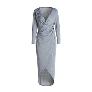 Sexy Style Plunging Neck Cross High Split Long Sleeve Dress For Women